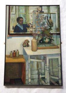 An acrylic self portrait of Gordon de la Mothe